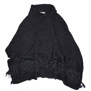 GRAY PONCHO CAPE COLDWATER CREEK KNIT FRINGE